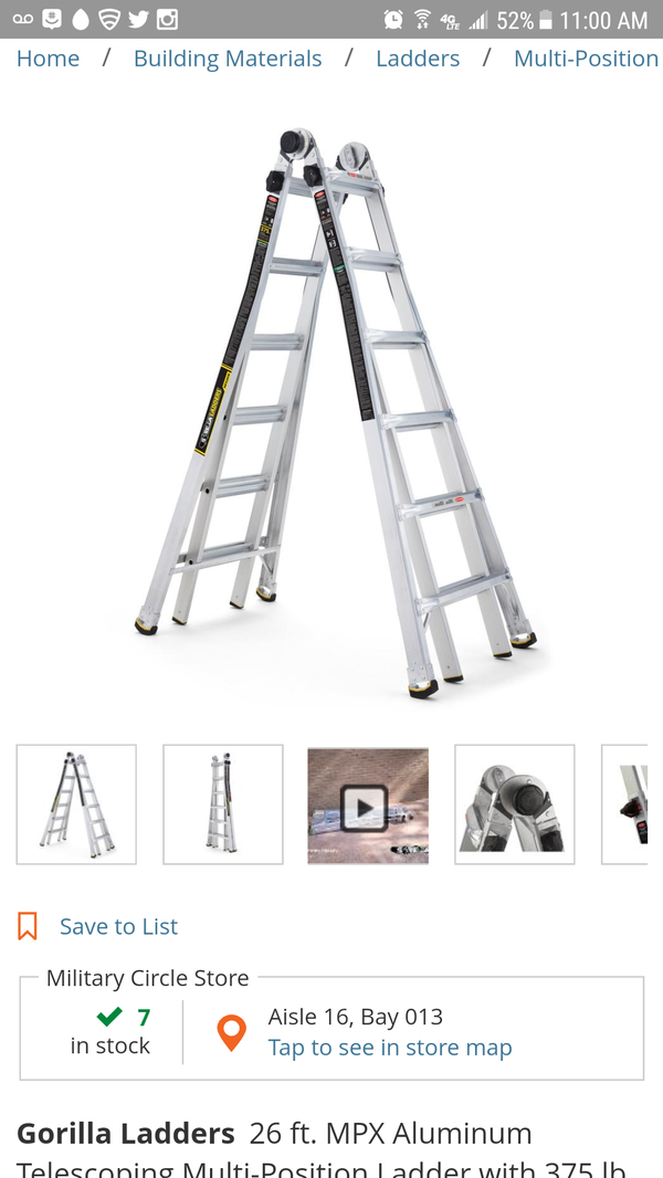 Gorilla Ladders 26 ft  MPX Aluminum Telescoping Multi-Position Ladder with  375 lb for Sale in Norfolk, VA - OfferUp