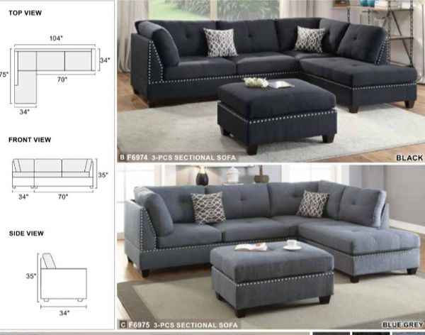 Sectional Sofa Couch Ottoman Included Color Black Available In