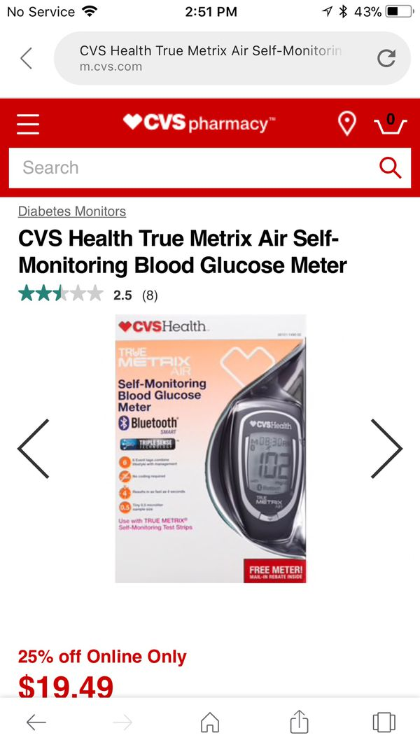 True Metrix Air Self Monitoring Blood Glucose Meter and Test Strips for  Sale in Charlotte, NC - OfferUp
