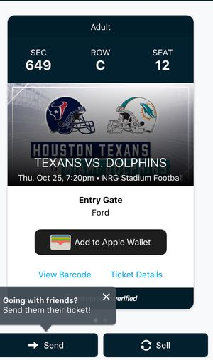 Selling 1 ticket Texans vs. Dolphins $50 for Sale in Houston, TX