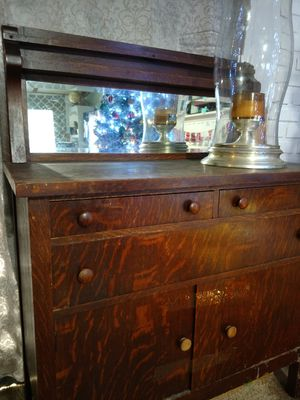 Antique Tiger Wood Buffet w/ Mirror for Sale in Puyallup, WA
