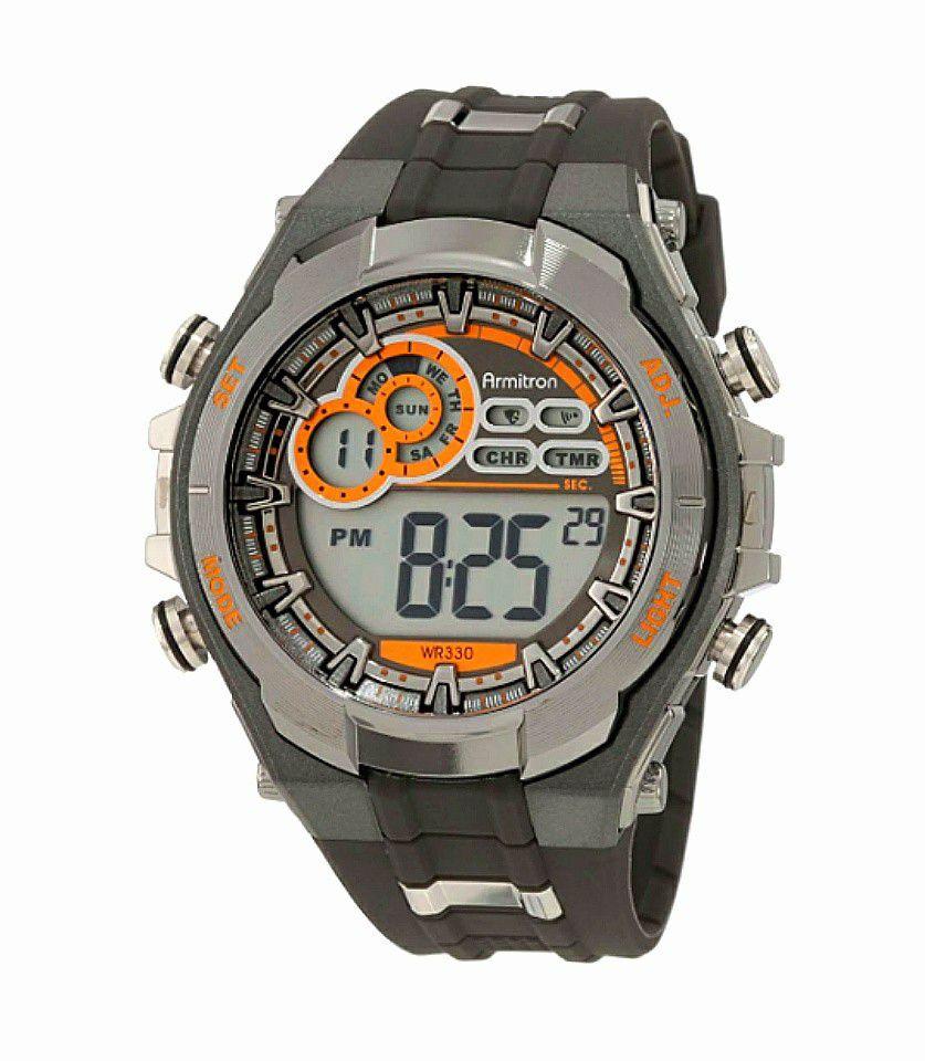 Armitron Digital Dark Gray & Orange Men's Watch