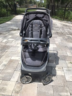 Photo Infant car seat with base, travel carrier and stroller