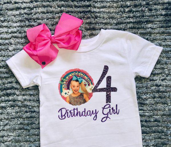 JoJo Siwa Birthday Girl 4th Shirt Bow 4T