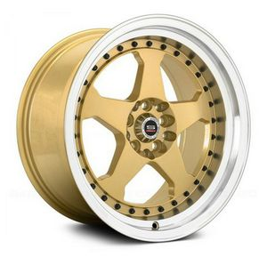 Photo MINT CONDITION 15 Inch Spec 1 SPT-21 Gold and Machined double Lip with Black Rivets