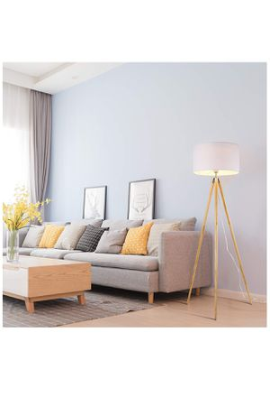 Light Society Celeste Tripod Floor Lamp, Natural Wood Legs with Satin Nickel Finish and White Fabric Shade, Mid Century Contemporary Modern Style (LS for Sale in Holly Springs, NC