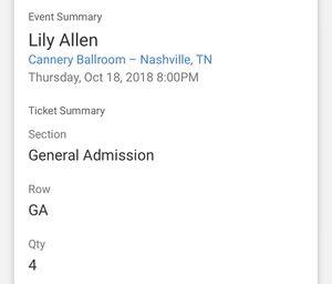 4 Lily Allen Tickets for Sale in Nashville, TN