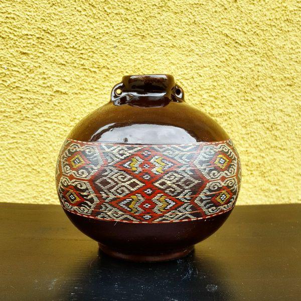 Vintage Hand Painted Quemada Ware Ceramic Vases Set Of 2 Native