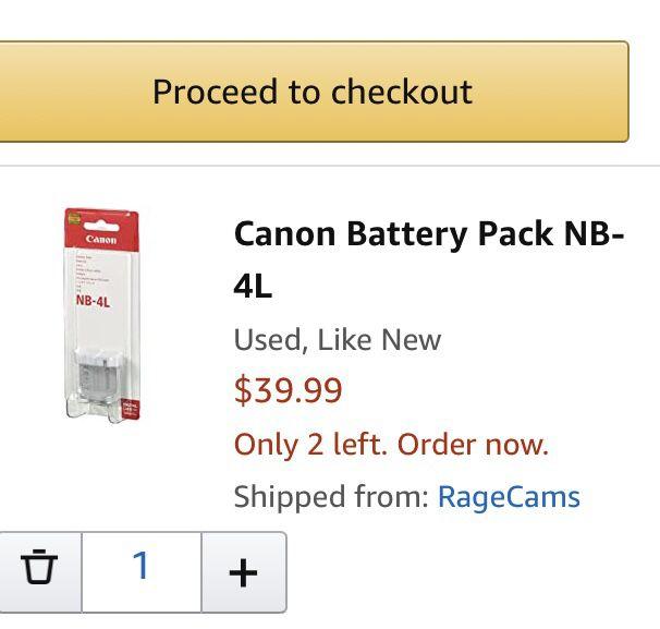 CANON Battery PackNB-4L 3.7v 760