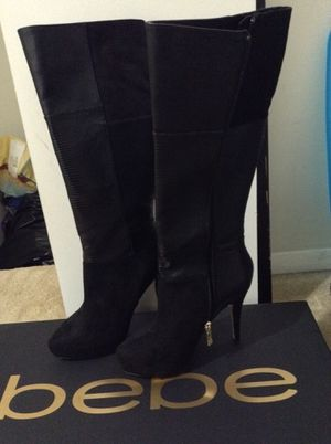 Women's Bebe black Evellynn Patchwork Boots Sz 8 for Sale in Gaithersburg, MD