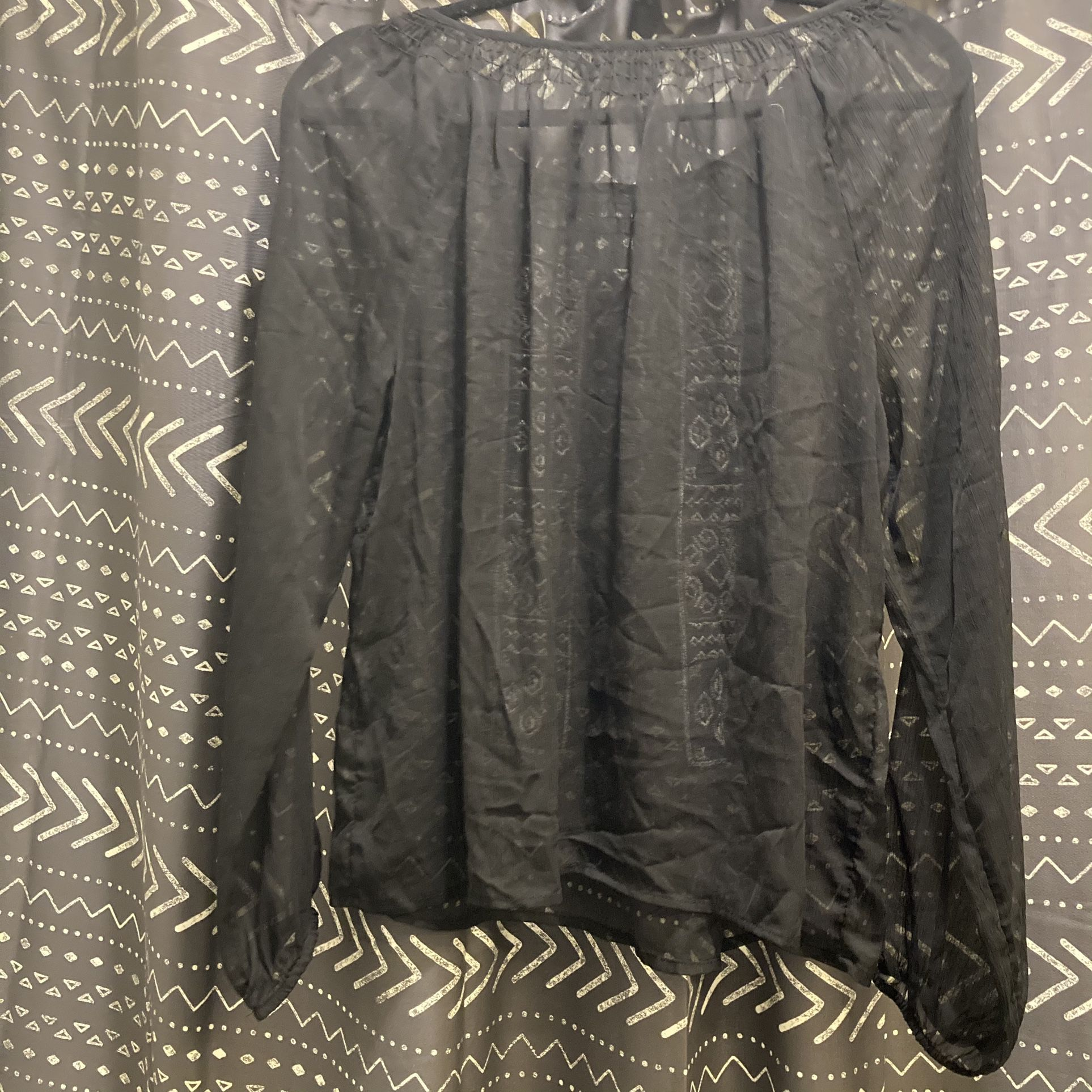 Lucky Brand Sheer Embroidered Top