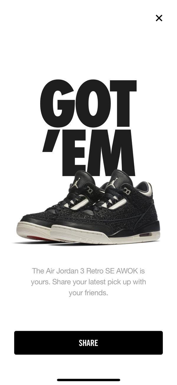 d0875beb2398e4 Awok Jordan 3 Retro Vogue Black size 8 women s for Sale in Union