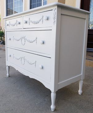 Photo Beautiful PURE WHITE Shabby Chic Console 4 Drawer Drawers Chest Buffet Entry Display Table Dresser TV Stand Unit Credenza