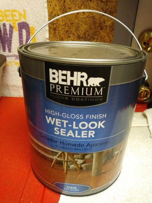 Behr Premium High Gloss Finish Wet Look Sealer Clear Gallon For - Behr wet look sealer high gloss