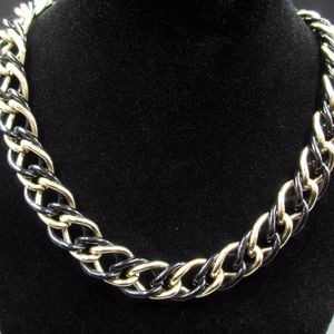 Vintage 17 Inch Black & Gold Thick Chain Metal Necklace Costume Jewelry Fashion Statement Wedding Bohemian Elegant Bridal Theater Trendy for Sale in Lynnwood, WA