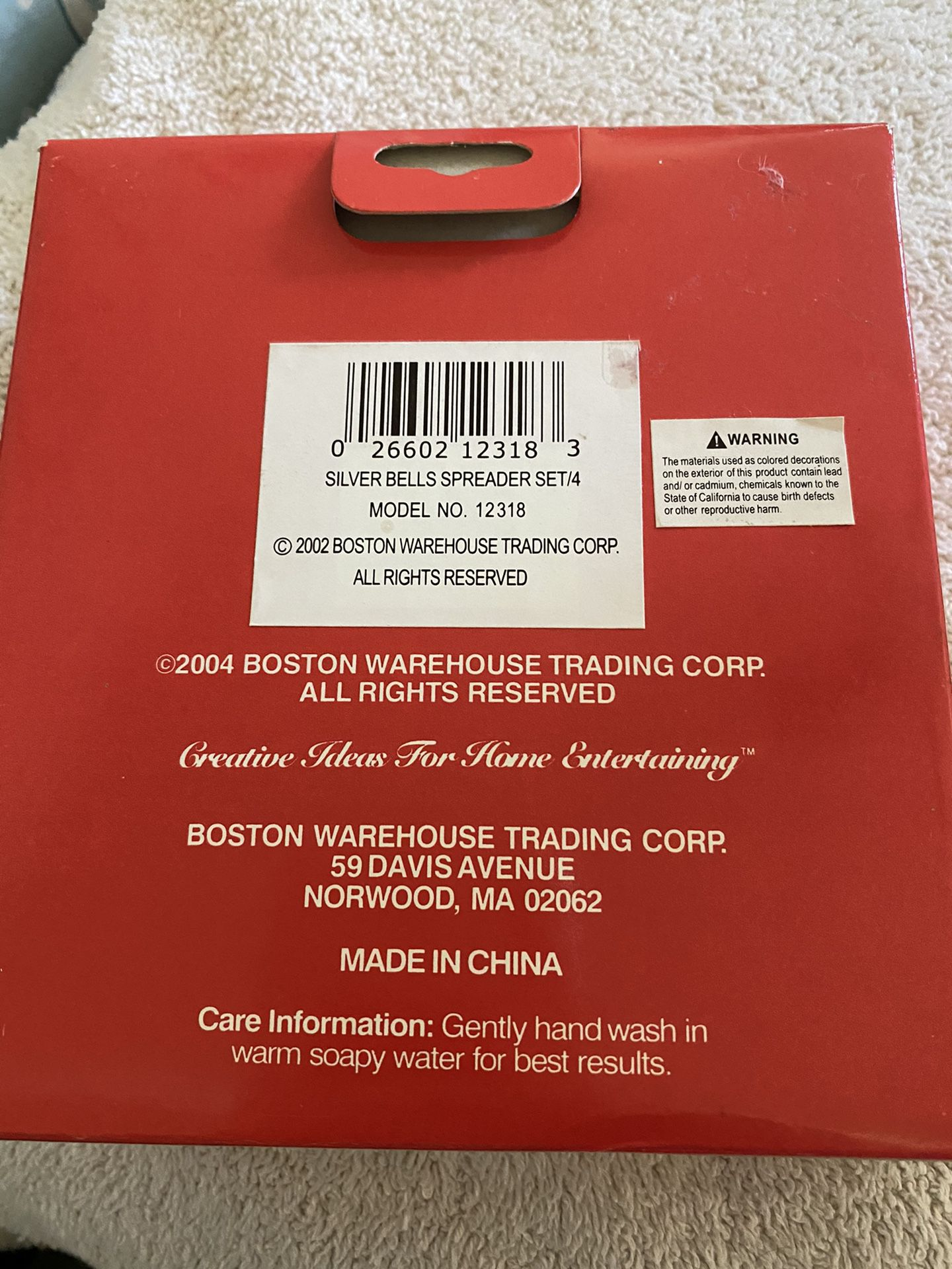 Never Opened - Boston Warehouse Set Of 4  Spreaders  NEW