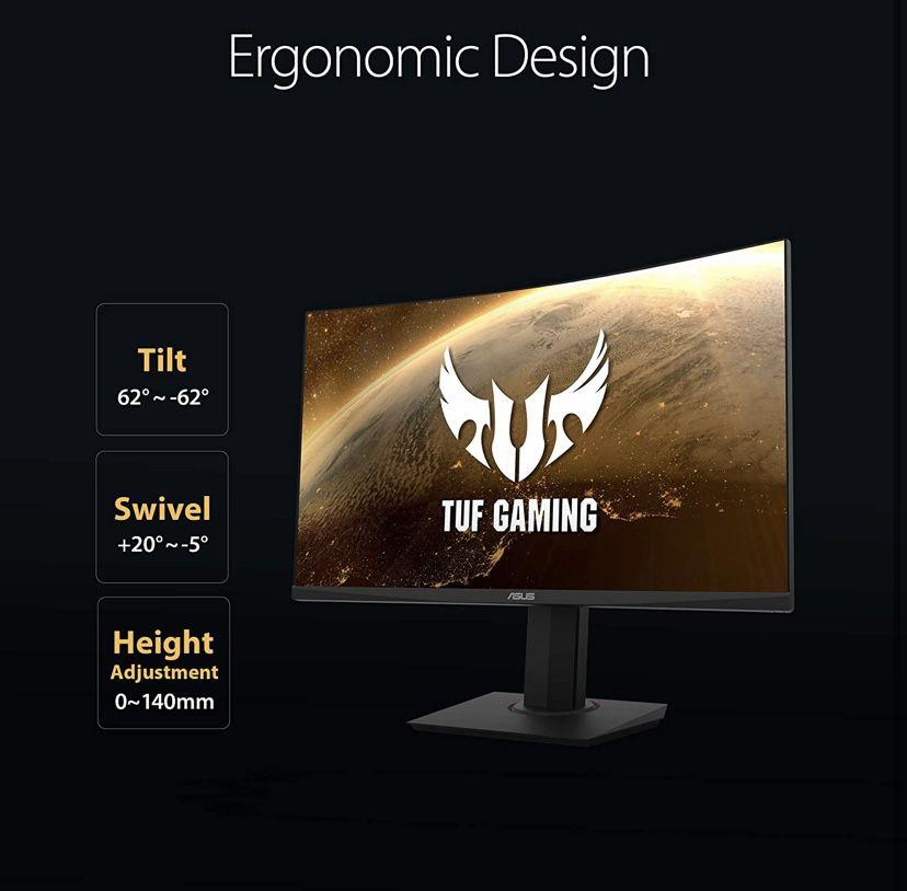 "ASUS TUF Gaming 32"" 2K HDR Curved Monitor (VG32VQ) - WQHD (2560 x 1440), 144Hz, 1ms, Extreme Low Motion Blur, Speaker, Adaptive-Sync, FreeSync Premium"