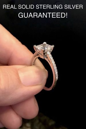 GUARANTEED REAL SOLID 925 STERLING SILVER 2 CT Princess Cut Cubic Zirconia Diamond Infinity engagement ring wedding promise bridal SIZE 6 & 9👇 for Sale in Glendale, AZ