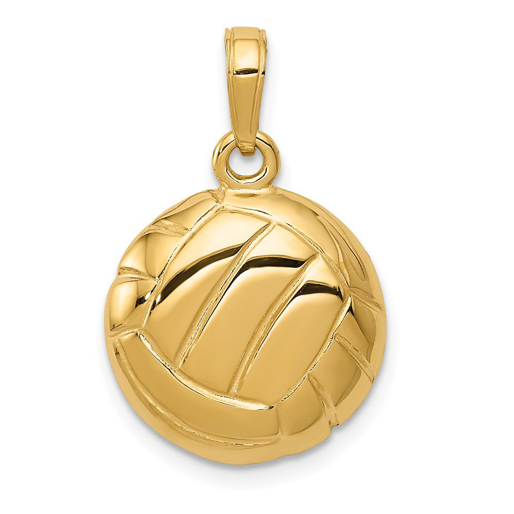 14k Yellow Gold Polished Open-Backed Volleyball Charm Pendant
