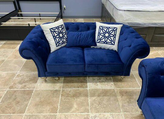 SAME-DAY DELIVERY 🎈Blue Velvet Sofa And Loveseat 🎈Delivery And Financing 🎈Store And Online Order Available 🎈🎈