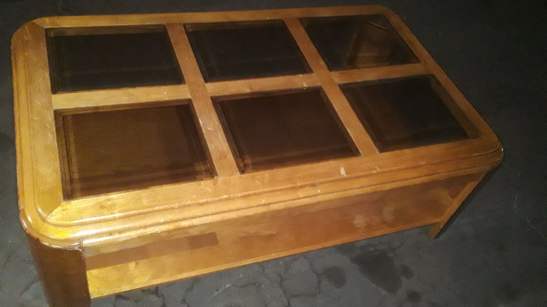 Glass center console table
