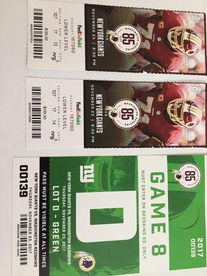 Redskins vs New York Giants for Sale in Bethesda, MD