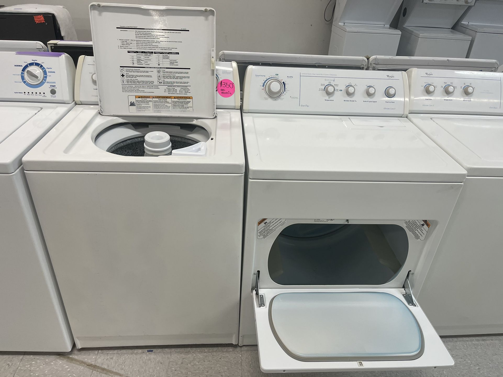 Whirlpool White Top Load Washer And Electric Dryer Set In Excellent Conditions With 4 Months Warranty