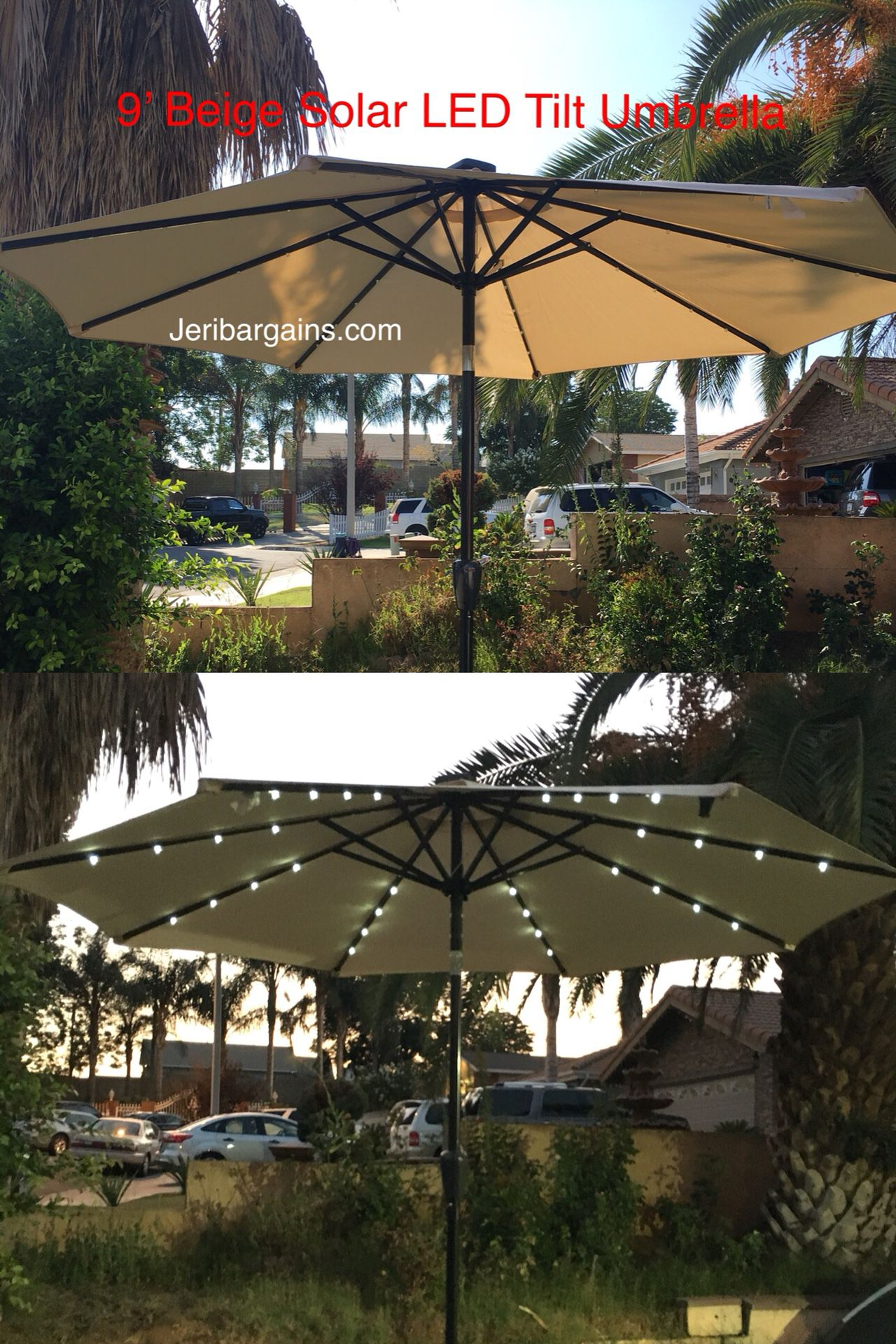 New 9' Beige Solar Led Tilt Umbrella BASE NOT INCLUDED