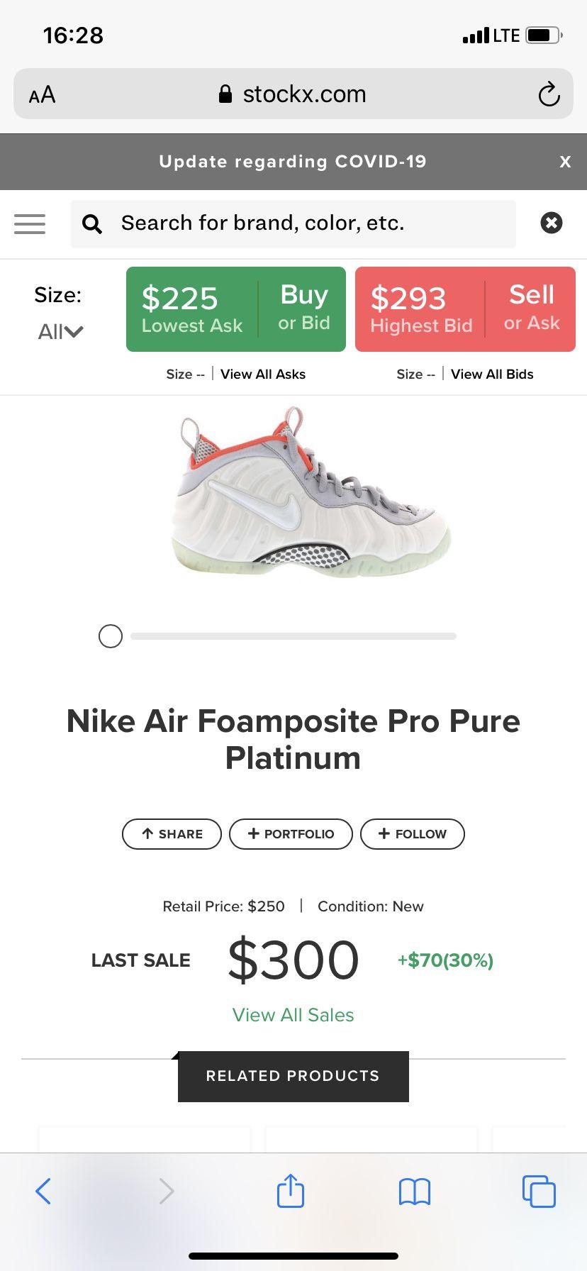 Nike foamposite pro pure platinum size 8