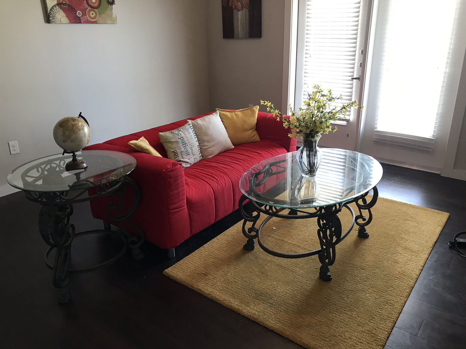 Mattress, box spring and night stands. Sofa tables and rug