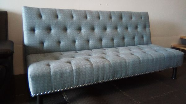 Brand New Light Blue Linen Fabric Tufted Sofa Bed With
