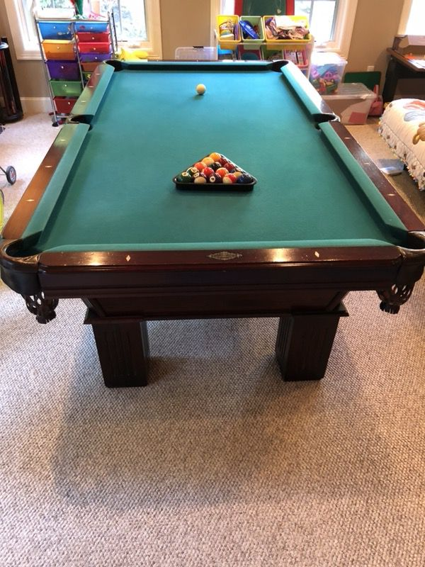 Ft AMF Play Master Pool Table Leather Pockets And Mahogany Wood - Amf playmaster pool table