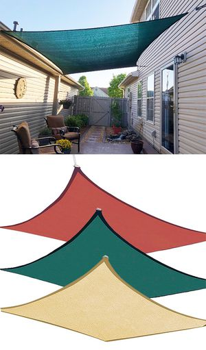 Photo New $50 each 18x18' Square Sun Shade Sail Outdoor Top Cover (Tan, Red or Green)