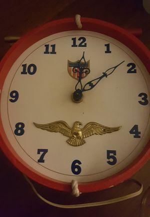 Vintage Telechron Irmi Wooden Drum Electric Wall Clock 1950s Eagle Patriotic USA for Sale in Appomattox, VA