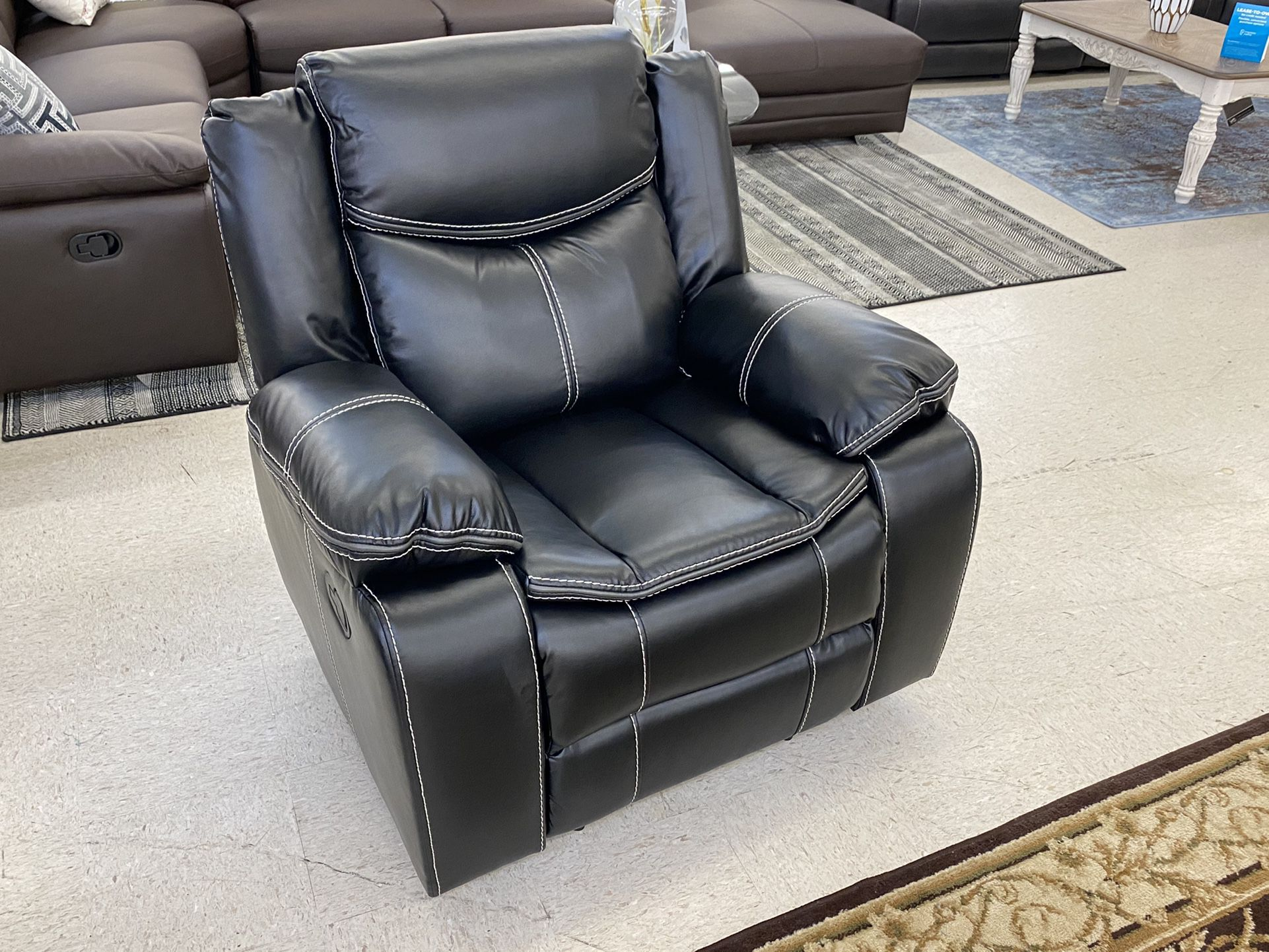 Brand New Black Leather Manual Reclining Sofa Set . $39 Down Payment Foe No Credit Check Financing . We Do Same Day Delivery