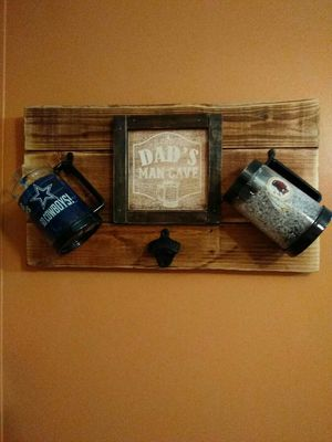 Wooden Dad's Mancave sign with two mug holders and bottle opener for Sale in Rustburg, VA
