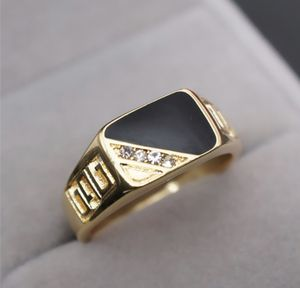 SALE!!! 18k Gold Men Engagement /Wedding/Christmas/Birthday/Anniversary/Hanukkah Ring filled Black Enamel for Sale in Gaithersburg, MD