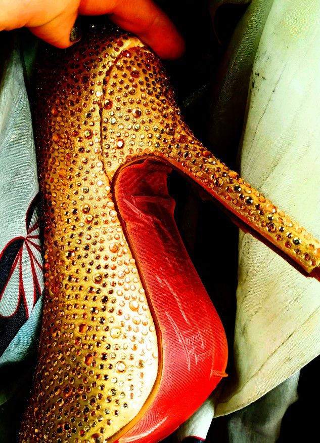 Christian Louboutin Red-Soled Sparkly Gold Stilettos