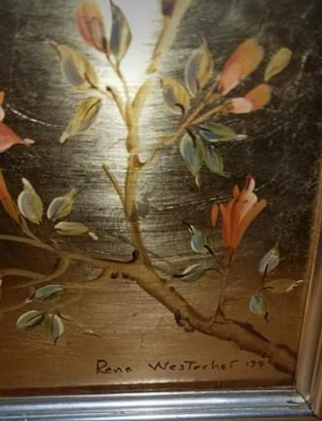Vintage Chinoiserie Reverse Painted Gold Leaf Mirror by La Barge