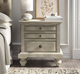 """{ONE} Philomena 2 - Drawer Nightstand in Antique White. Minor wear. 29"""" x 28"""" x 17"""". Solid + manufactured wood. MSRP $357. our price $195 + sales tax  Thumbnail"""