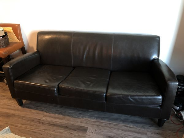 West Elm Leather Sofa Couch For In