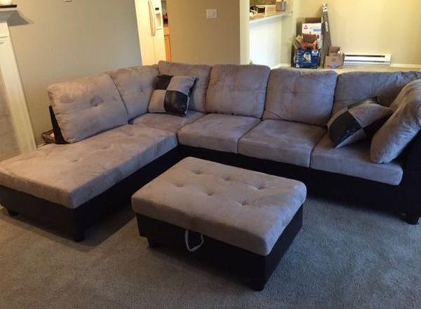New Tan Microfiber Sectional Sofa With Storage Ottoman For Sale In