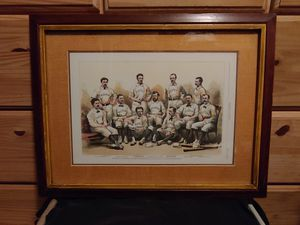 """Framed and matted print from the Harper's Weekly June 27, 1874 """"International Baseball-The Boston Champions"""" of a photograph by J.W. Black, Boston, MA for Sale in Pasadena, MD"""