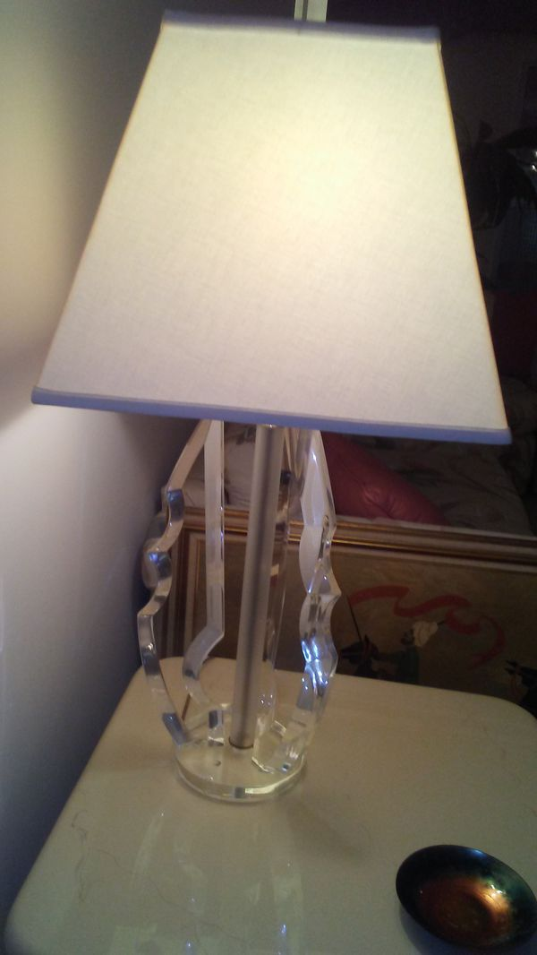 One Vintage Lucite Table Lamp