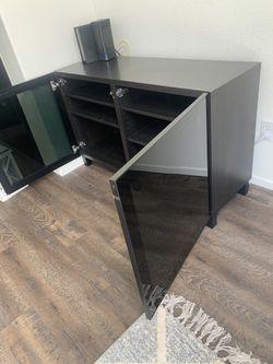 IKEA Black Media Console Cabinet with Adjustable Shelves Thumbnail