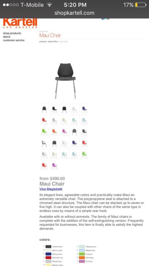 authentic kartell maui stacking chairs fiberglass for sale in