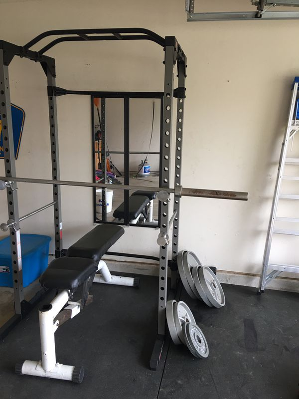 5ba7b6e5bf Fitness Reality 810XLT Super Max Power Cage with bench and olympic weight  set