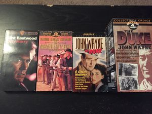Photo Western Classics VHS Lot. John Wayne The Duke. Clint eastwood dirty hairy. The magnificent seven