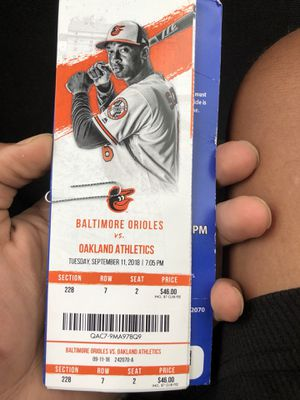 4 Orioles tickets and a parking pass for Sale in Frederick, MD