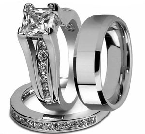 New 18 k white gold men's wedding ring set engagement ring his and hers for Sale in Orlando, FL